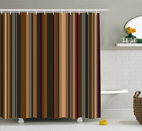 Ambesonne Abstract Decor Shower Curtain, Retro Vertical Striped Background in Different Shades of Earthen Tones Image, Fabric Bathroom Decor Set with Hooks, 75 Inches Long, Tan Brown