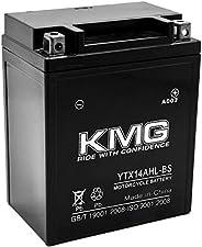 KMG YTX14AHL-BS Battery Compatible with Kawasaki 750 VN700-A Vulcan 1986-2006 Sealed Maintenance Free 12V Batt