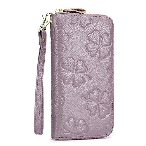 HASFINE Women Genuine Leather Long Wallet RFID Blocking Clutch Bag Wristlet Handbag Embossed Purse Credit Card Holder(Lavender) -
