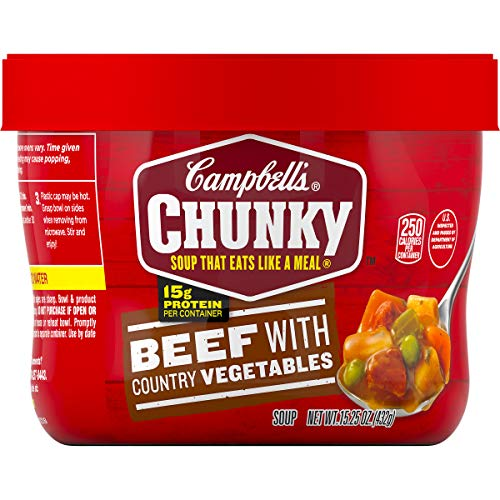 - Campbell's Chunky Beef with Country Vegetables Soup Microwavable Bowl, 15.25 oz. (Pack of 8)