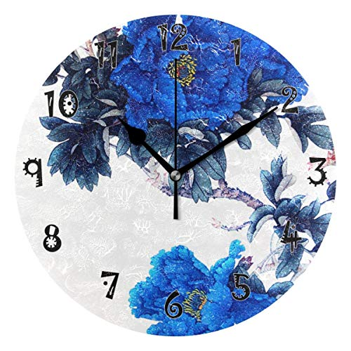 Dozili Abstract Paintings Wooden Round Wall Clock Arabic Numerals Design Non Ticking Wall Clock Large for Bedrooms,Living Room,Bathroom