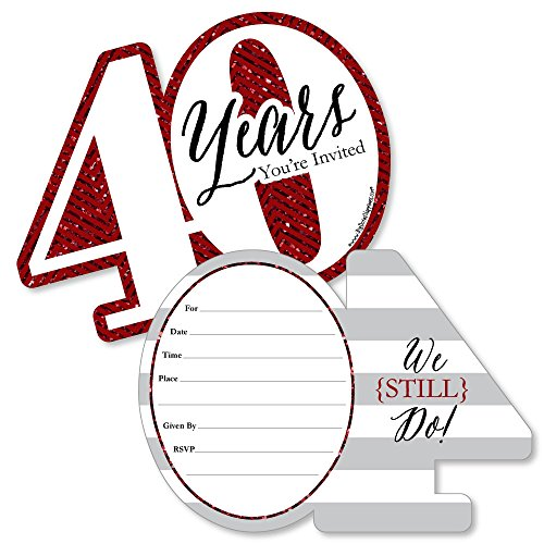 - We Still Do - 40th Wedding Anniversary - Shaped Fill-In Invitations - Anniversary Party Invitation Cards with Envelopes - Set of 12