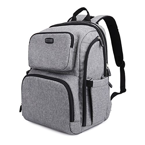 GYSSIEN Multifunctional Baby Nappy Backpack Diaper Changing Bag for Baby Care Waterproof Large Capacity Mummy Travel Backpack with Wipeable Changing Pad (Grey)