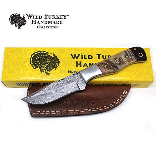 "Wild Turkey Handmade Damascus Collection 8.5"" Fixed Blade Hunting Knife w/Leather Sheath"