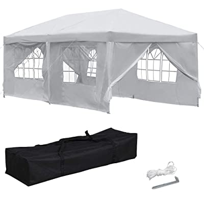 Yaheetech 10x20 ft Outdoor Pop Up Canopy Tent Easy Up Instant Folding Party Wedding Canopy Tent with 6 Removable Sidewalls White : Garden & Outdoor