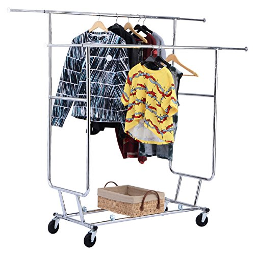 NEW Commercial Grade Collapsible Clothing Rolling Double Garment Rack Hanger Holder (Grand Complete Alphabet Set)