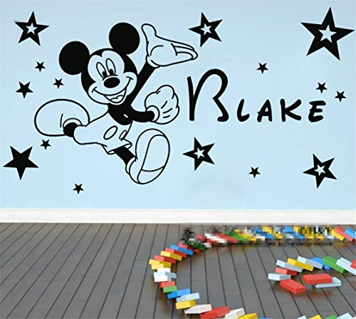 Wikaus Mickey Minnie Mouse Wall Art Decal Sticker Customized Any Lovey Name Mickey Mouse Wall Sticker Vinyl Mural Kids Decal 20 Stars