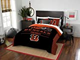 Cincinnati Bengals - 3 Piece FULL / QUEEN Size Printed Comforter Set - Entire Set Includes: 1 Full / Queen Comforter (86'' x 86'') & 2 Pillow Shams - NFL Football Bedding Bedroom Accessories