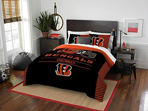 Cincinnati Bengals - 3 Piece FULL / QUEEN Size Printed Comforter Set - Entire Set Includes: 1 Full / Queen Comforter (86'' x 86'') & 2 Pillow Shams - NFL Football Bedding Bedroom Accessories by Northwest