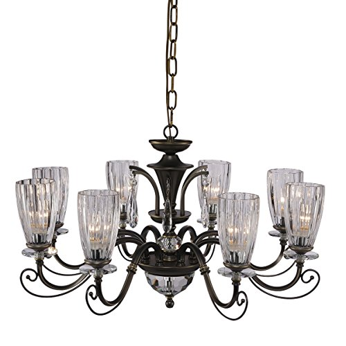 QIRUI Luxury Retro Iron Chandelier Fixture With E12 Lamp Sockets,Ceiling Lighting Holder With Transformer and Lampshade,Decoration for Home Hotel Hall Restaurant 8672-8