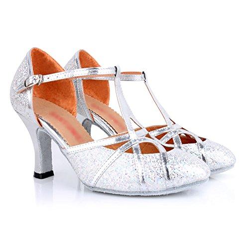 WYMNAME Mujeres Baile Latino,Tacones Mediados Fondo Blando Zapatos De Baile De Salón Estándar Internacional Zapatos De Baile De Salón La Plata