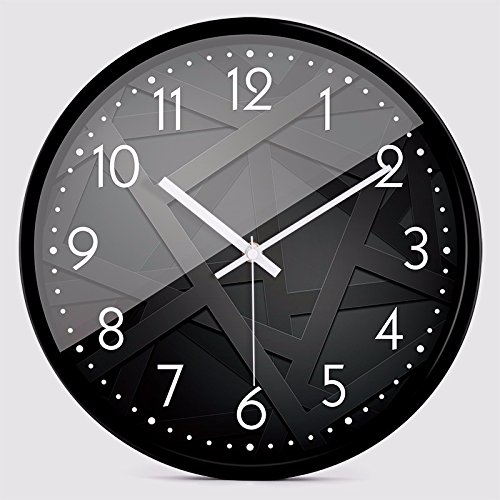 オフィス用の寝室用リビングルーム用静かな壁時計、黒 B07DMGPJXV 黒 黒