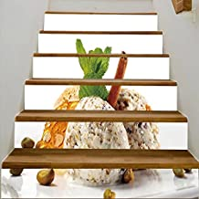 "vanfan 3D Creative pistachio ice cream with fresh mint and cinnamon isolated on white background DIY Refurbished Stairs Stickers Removable Waterproof Stairs Mural(39.3""w x 7""h x 6PCS)"