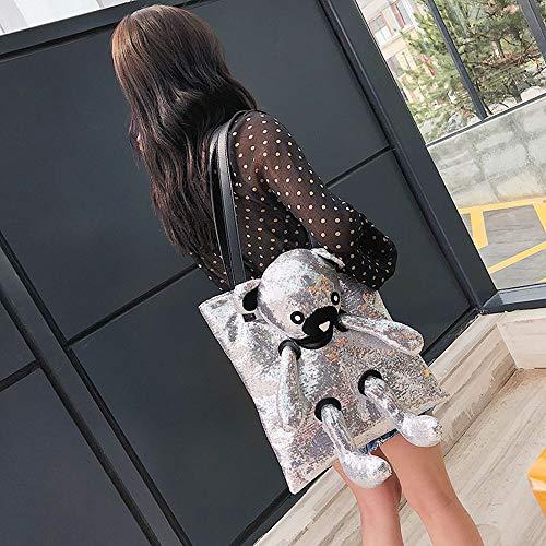 Donna elegante pelle catena a vintage tela White tracolla Borsa Borsa Borse donne Borsa Bag borsetta PU a tracolla zaino Messenger Borsa da spiaggia JUNMAONO Borse Borse per THZ1ndT