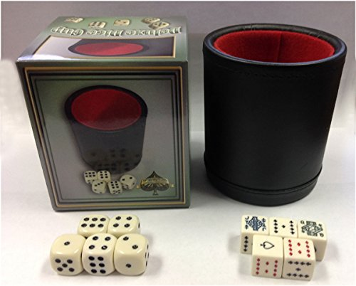 VEGAS GAMING SUPPLIES DELUXE Bar Style DICE CUP With 5 Regular & 5 Poker Dice by Spinettis