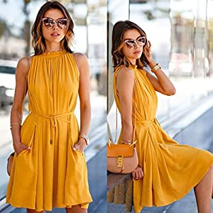 Tosonse Beach Dresses for Women Casual Summer Sleeveless Party Casual Dress with Belt