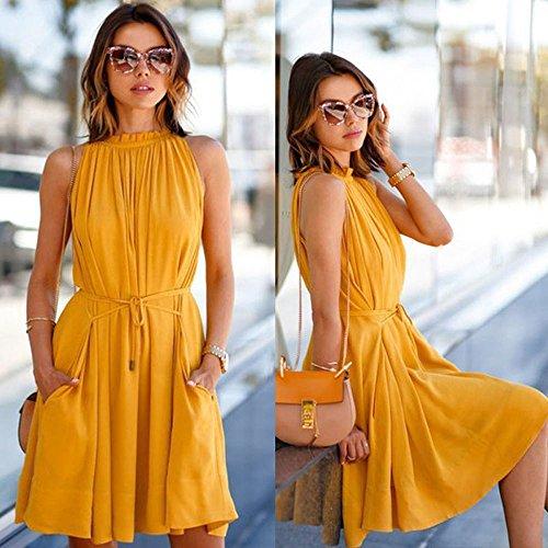 SKY Big promotion for the Summer dress !!!Mujeres Sólido vestido sin mangas plisado Sleeveless Beach Party Casual Dress amarillo