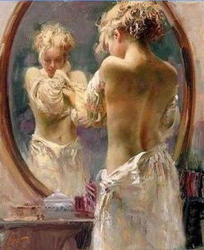 100% Genuine Real Hand Painted Dream Nude Mirror naked girl Canvas Oil Painting for Home Wall Art Decoration, Not a Print/ Giclee/ Poster, FRAMED, Ready to Hang by Generic