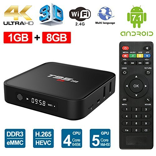Sawpy T95M Android7.1 smart tv box 1GB +8GB 4K Smart TV Box 64bit quad-core cortex-A53 with 2.4GHz wifi by Sawpy