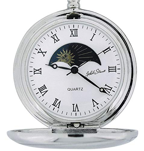 Jakob Strauss Silvertone Sun & Moon Gents Pocket Watch + 12 Inch Chain JAST09 ()