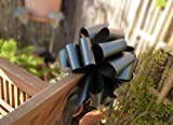 Large Black Ribbon Pull Bows - 9'' Wide, Set of 6, Funeral, Mourning, Support, Awareness