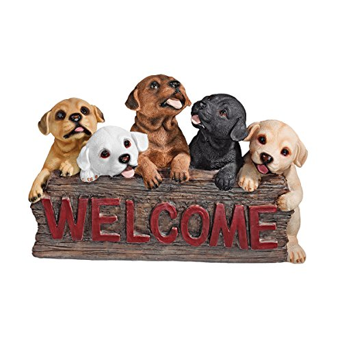 Design Toscano The Puppy Parade Welcome Sign, Multicolored ()