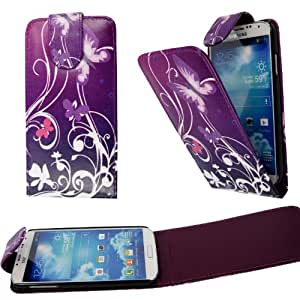 For Samsung Galaxy S4 i9500 New Ultra Butterfly On Purple Leather Flip Case Cover