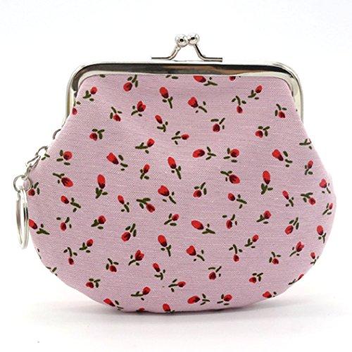 Pink Bag Light Small Lovely Cute Women's Clutch Coin Shuohu Handbag Floral Holder Wallet Purse USqxwO