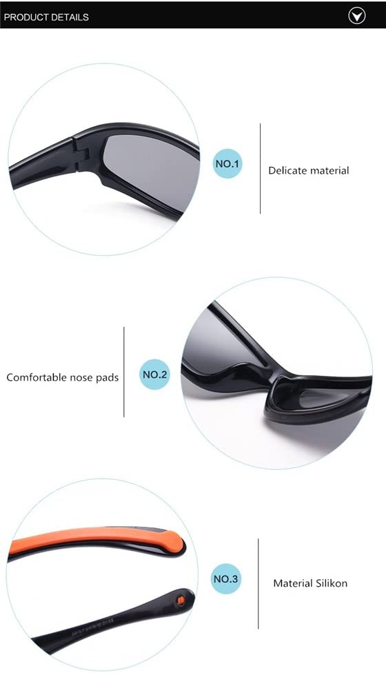 DAUCO Soft Rubber Kids Polarized Sunglasses for Children Age 3-10