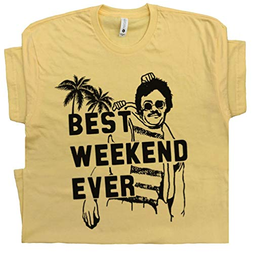 L - Weekend at Bernies T Shirt with Funny Saying Slogan 80s Movie Tee Best Ever New York Vintage Party Graphic Yellow