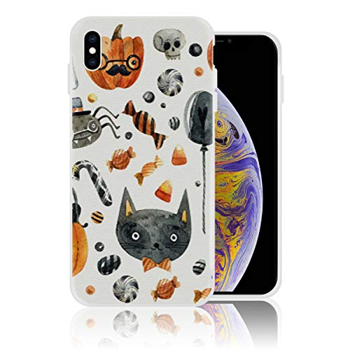 Silicone Case for iPhone X, Personalized Design Printed Phone Case Shockproof Full Body Protection Anti-Scratch Drop Protection Cover - Halloween Cat Pumpkin Candy and Ghost -