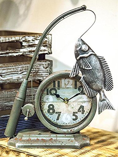 Table Clocks - A Fishermans Tale Table Clock - Fishing - Lake House - Clock Table Kensington