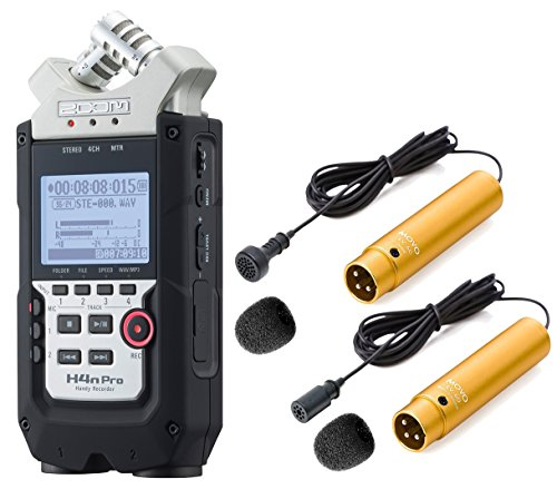 (Zoom H4n PRO 4-Channel Handy Recorder Bundle with Movo Pro Grade Omnidirectional and Cardioid XLR Lavalier Microphones )