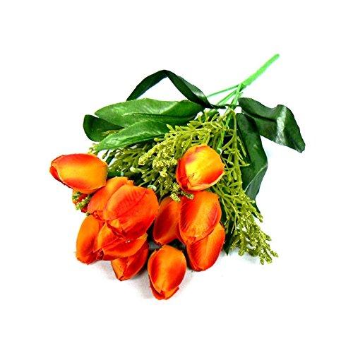 Flor artificial buque de tulipas com 12 flores, folhagens e complementos para arranjos e decoração (Laranja)