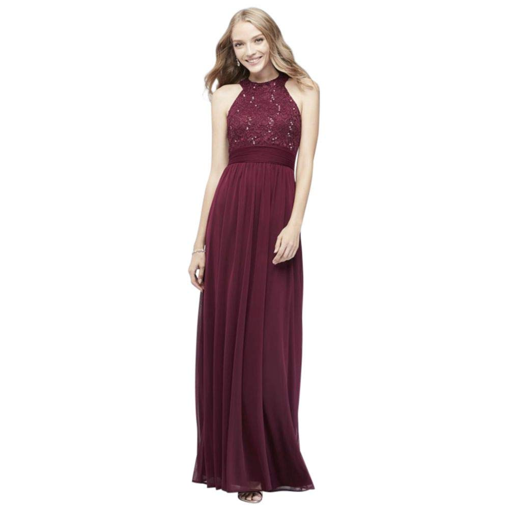 334c9b64d7a48 David's Bridal High-Neck Sequin Lace and Chiffon Bridesmaid Dress Style  W60081 at Amazon Women's Clothing store: