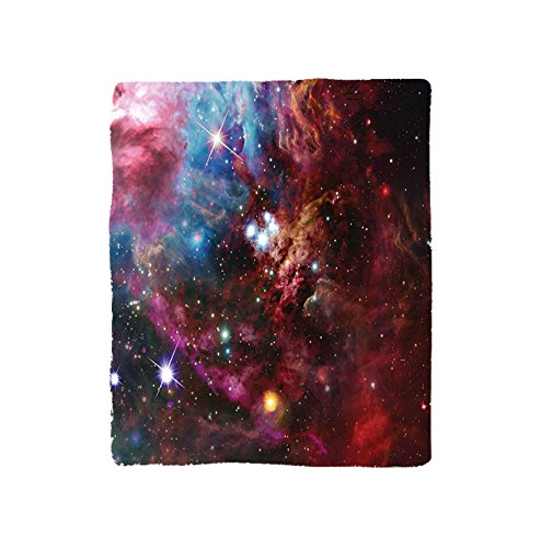 Kisscase Custom Blanket Space Collection Space Nebula with Star Cluster in the Cosmos Universe Galaxy Solar Celestial Zone Bedroom Living Room Dorm Teal Red Pink by kisscase