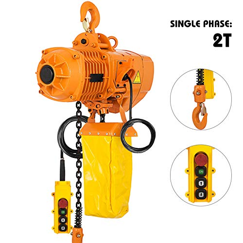 Mophorn 2 Ton Electric Chain Hoist Single Phase 4400Lbs 10ft Lift Height Electrical Hook Mount Chain Hoist G80 Chain Hoist Lift Electric Hoist with Pendant Control (2T 110V)  - Electric Power Chain Hoists