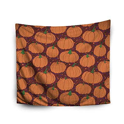 Jacrane Tapestry Wall Hanging with 50x60 Inches Halloween Pumpkins Pattern terrazzo Background Purple Version Art Tapestries for Bedroom Living Room Home Decor Wall Hanging Tapestries]()