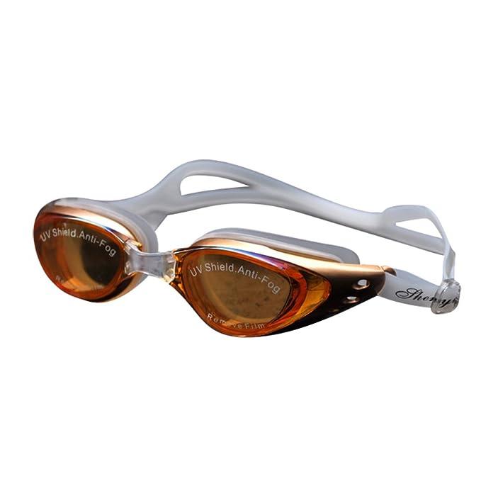 Tookang Gafas A Prueba De Agua Grandes Gafas De Natación Con Protección UV  Impermeable Espejo Gafas De Natación Para Hombres Y Mujeres Adultos Dorado   ... 9a23de21fc30
