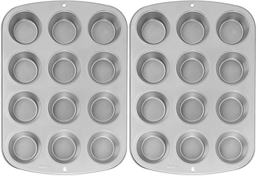 Wilton Recipe Right Nonstick 12-Cup Regular Muffin Pan (2, STANDARD) (Cupcake Tray)