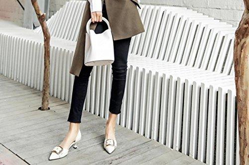 Donna Inglese Sandali Punta con DANDANJIE Beige Stile con a Fibbia Scarpe da Fibbia RwHqHF