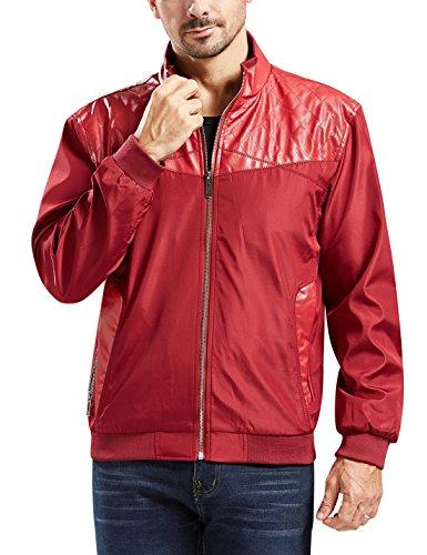 Block Slim Casual Thin Lightweight Jacket (Medium, Red2) ()