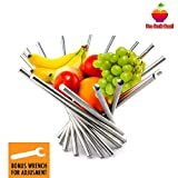 """Foldable Rotation Fruit Basket, Decorative Fruit Bowl with Unique Design and Anti Rust Stainless Steel, 15""""x10"""" Modern Fruit Stand Storage Kitchen for Orange Banana Apple Grapes, Wrench Included"""