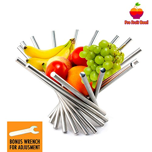 """Pro Fruit Bowl Rotation Foldable Fruit Basket Unique Design Sturdy Stainless Steel and Anti-Rust Brushing Pattern Decorative Storage Kitchen for Effortless to Clean 15"""" x 10"""" with Wrench - Silver"""