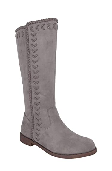5a81945f6c155 NINA Kids Girls Zahra Knee High Zipper Chelsea, Grey, Size 11 Us M Little  Kids