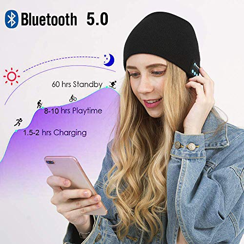 Bluetooth Beanie Hat V5.0 Wireless Music Hat Knit Running Cap with Headphone & Mic Unique Christmas Tech Gag Gifts for Boyfriend/Him/Husband/Teen/Men/Women/Boys Girls