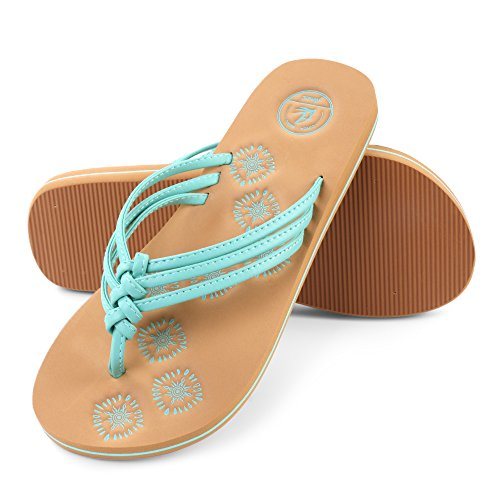 Aerusi Women's Braid Thong Sandals Flip Flops (Size 8, Aqua)