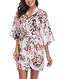 Laurel Snow Women's Satin Floral Kimono Robe Short Bridesmaid Bathrobe for Wedding Party,Pink L