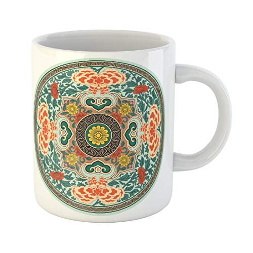 Tarolo 11 Oz Mug Coffee Mug Ceramic Tea Cup Plate Chinese Traditional Pattern Rosette China Ancient Oriental Flower Eastern Large C-handle Family and Office Gift