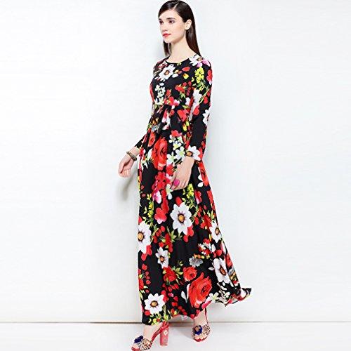 Women`s Cotylédons Robes Imprimées Col Rond Manches Longues Robe Longue